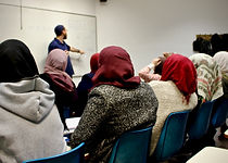 Arab women study spoken Hebrew at the Hebrew University in Jeruslem