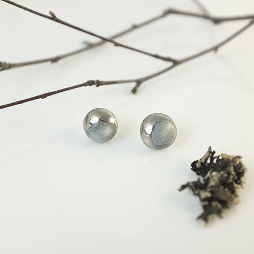 Porcelain Earrings Moon Gray Silver