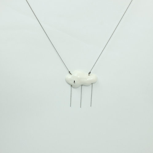 Porcelain Pendant White 'Starting to Rain'