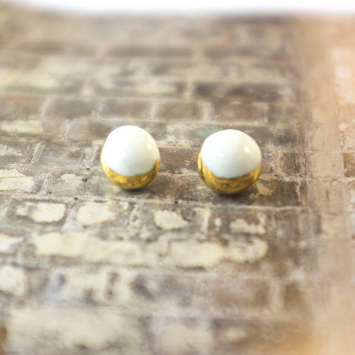 SOLD! Porcelain Earrings Moon White Gold