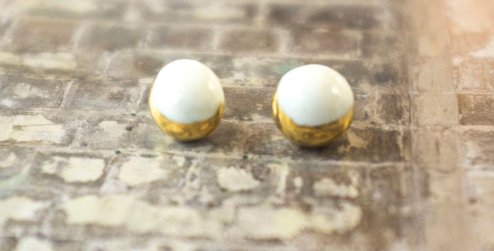 SOLD! Porcelain Earrings Moon White Gold