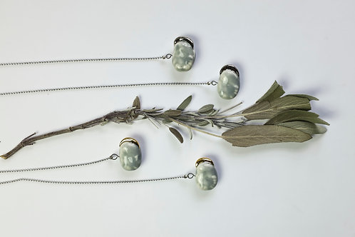 """Necklace """"Gray beans with platinum seedlings"""""""
