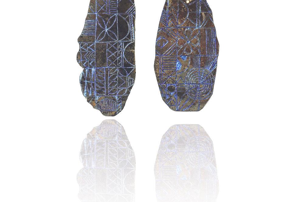 Titanium earrings with Olokun ornaments