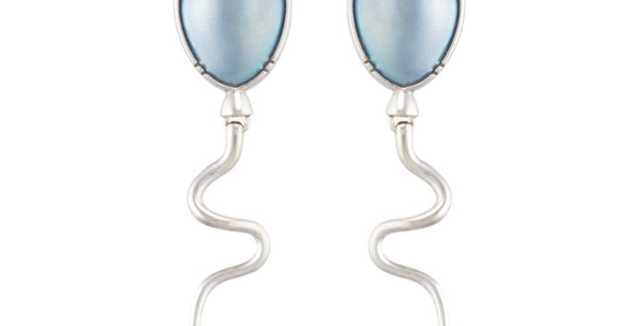 Titanium Balloons Earrings - Polar Blue