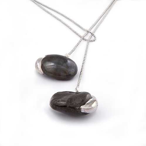 "Necklace ""Black beans with platinum seedlings"""