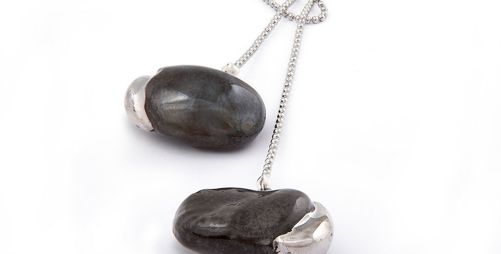 """Necklace """"Black beans with platinum seedlings"""""""