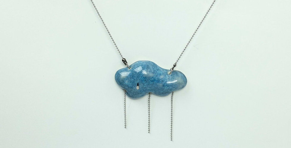 SOLD! Porcelain Pendant Blue 'Starting to Rain'