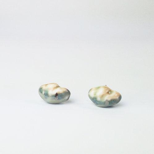 Porcelain Earrings Clouds Gray