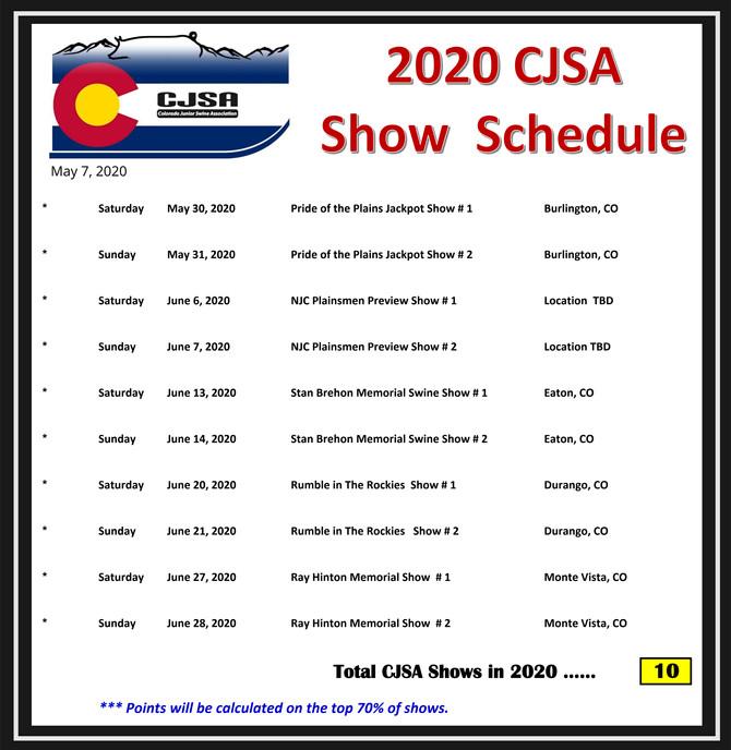 2020 CJSA Schedule