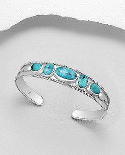 925 turquoise cuff bracelet 6 stones 46.