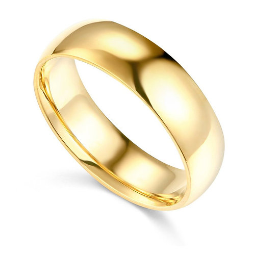 14k Yellow Gold 6-mm Comfort-fit Polished Wedding Band