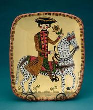 "George on Horseback—15""x13""x2""— Redware slab construction"
