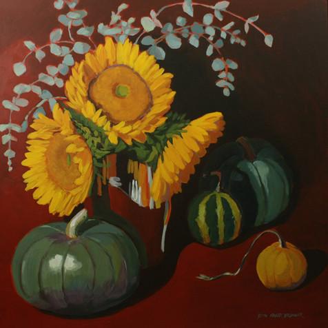 Sunflowers and Green Pumpkins