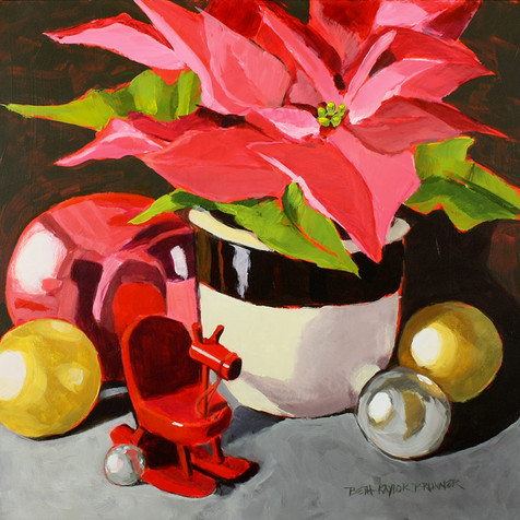 Pink Pointsettia and Rocking Horse