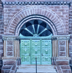 2020. Federal Building West Entrance. Watercolor. 8 by 8. Donated to the Washington Pavilion.