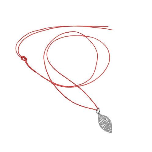 Collier Fil pendentif feuille Argent