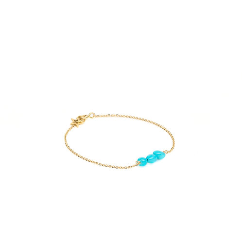Bracelet 3 Turquoises Or 18K