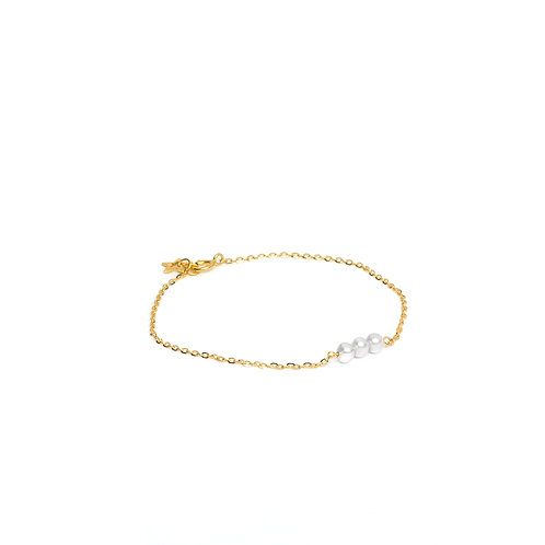 Bracelet 3 perles blanches Or 18K