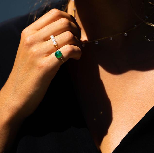 Bagues MARINE perles et Onyx vert