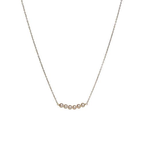 Ras de cou Petites perles blanches Or 18K