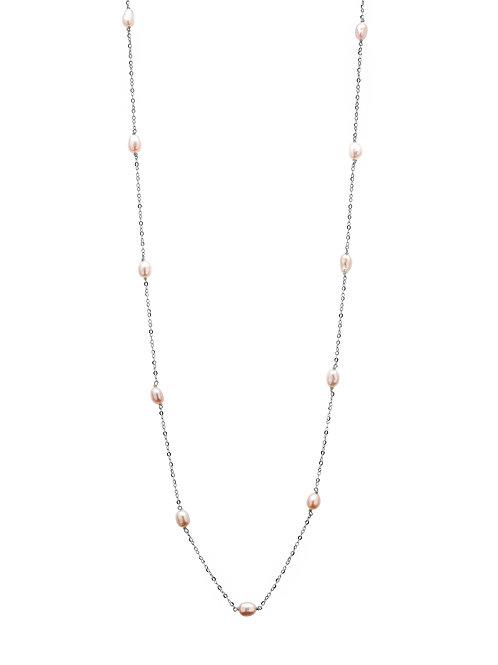 Océanne Argent perles roses
