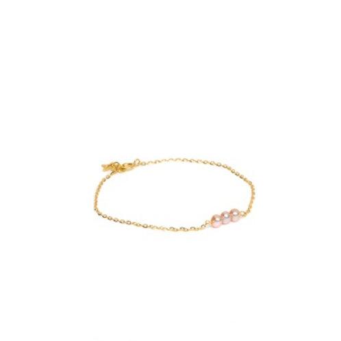 Bracelet 3 perles roses Or 18K