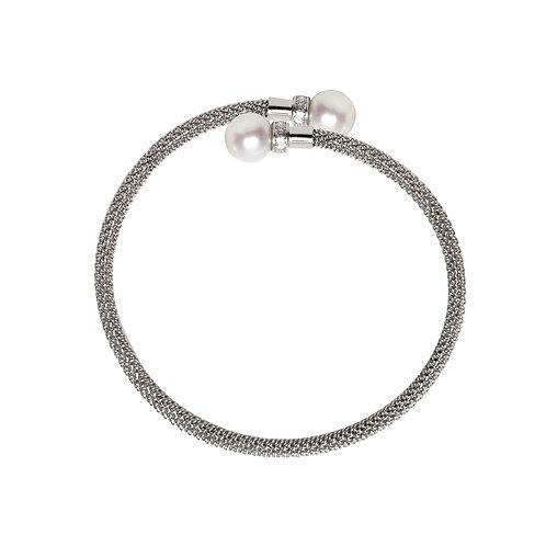 Bracelet Bras Argent perle blanche