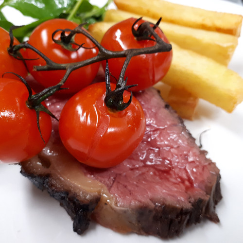 Sirloin steak triple cooked chips