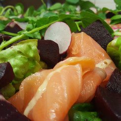 Smoked salmon and beetroot