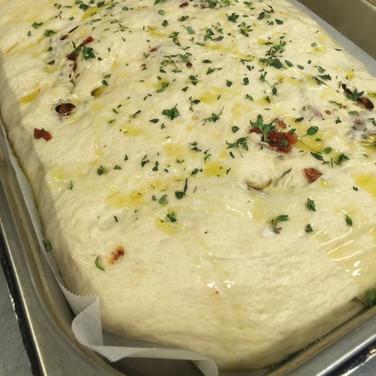 Focaccia ready to bake
