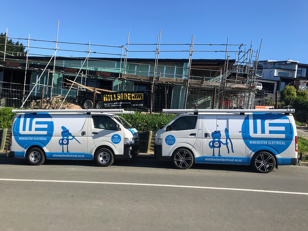 electrical vans on construction site