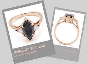 MARQUISE BEA RING  ROSE GOLD & BLACK DIAMOND