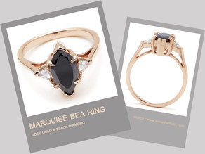 MARQUISE BEA RING  ROSE GOLD & BLACK DIAMOND