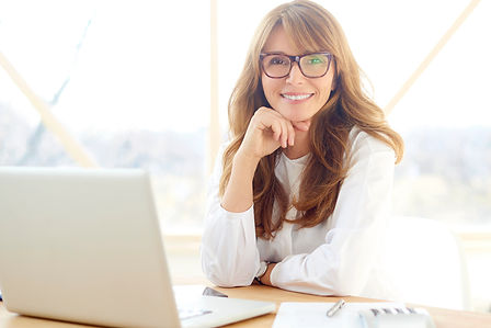 friendly female lawyer with laptop