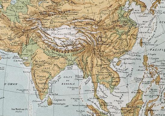 Asia physical map. By Paul Vidal de Labl