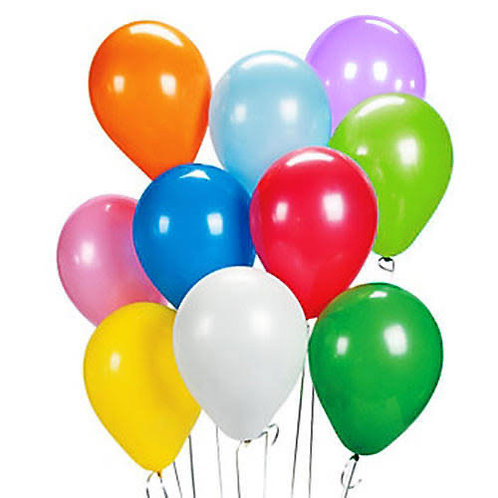 Bunch of  10 helium filled 30cm standard colour balloons