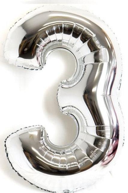 "Qualetex  Helium 34"" Silver Foil Number"