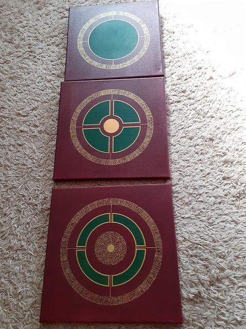 Tryptique Mandalas 30 x 30 cm