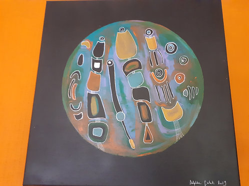 Peinture inspiration tribale 40x40 cm
