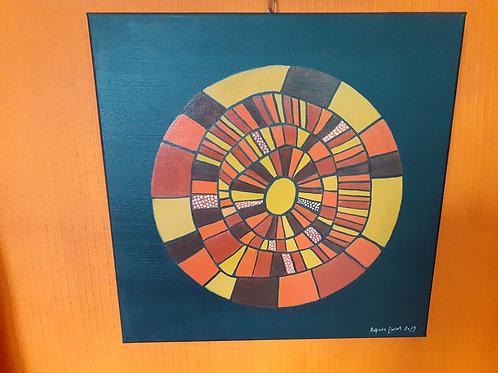 Peinture inspiration tribale 40 x 40 cm