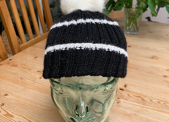 Striped Hat with Pom Pom