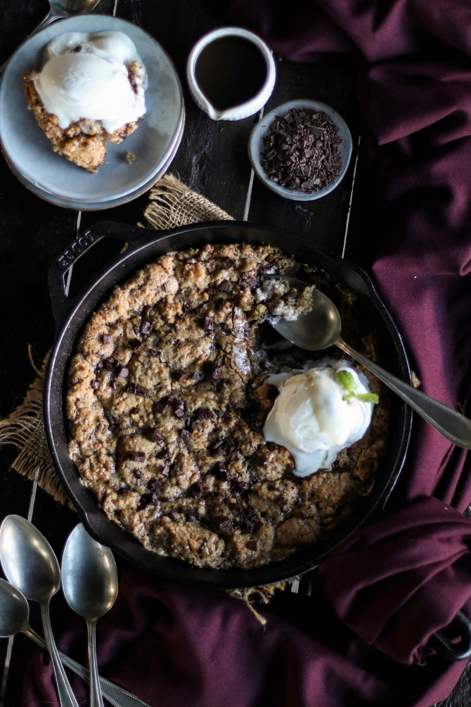 Chocolate Chip Caramel Skillet Cookie
