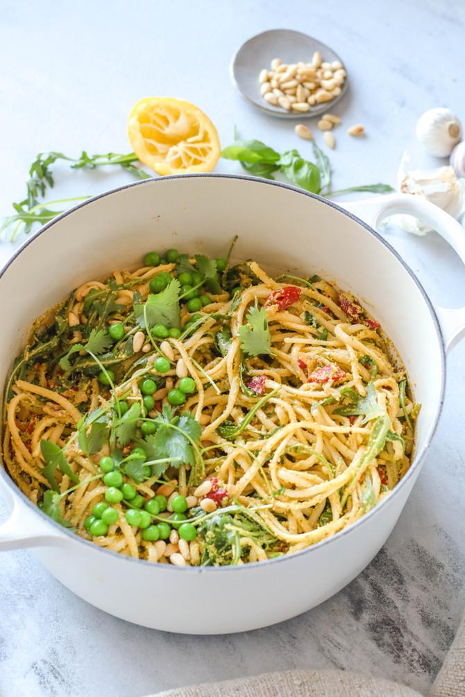 15-min Pea & Basil Pesto Pasta