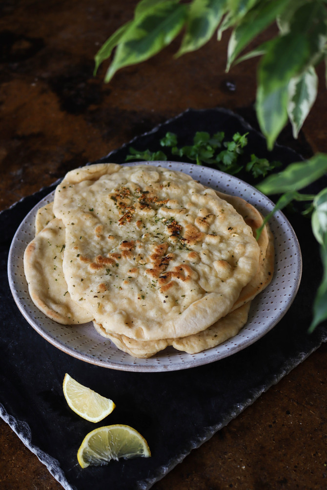 Herb & Garlic Homemade Vegan Naan
