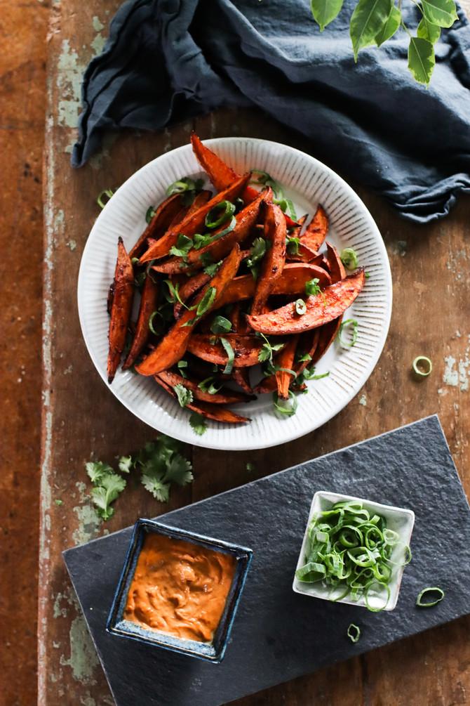 Sweet & Spicy Miso Roasted Sweet Potatoes With Sambal Tahini Mayo