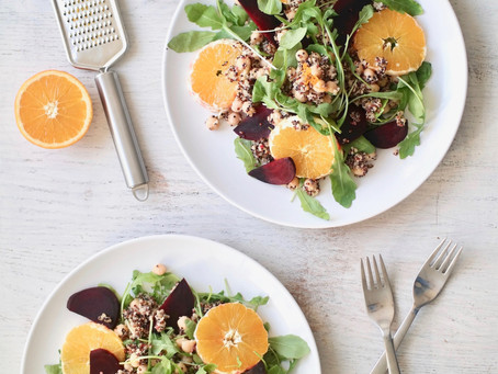 Beetroot Quinoa Arugula Salad with Orange Ginger Dressing