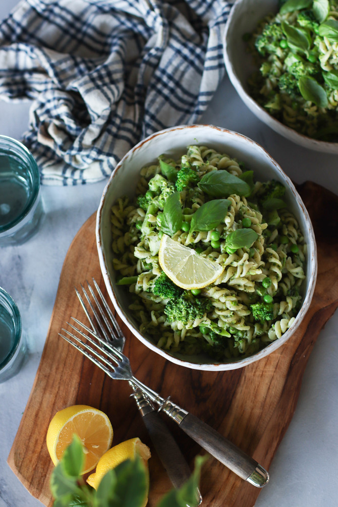 Creamy Green Leek & Pea Pasta