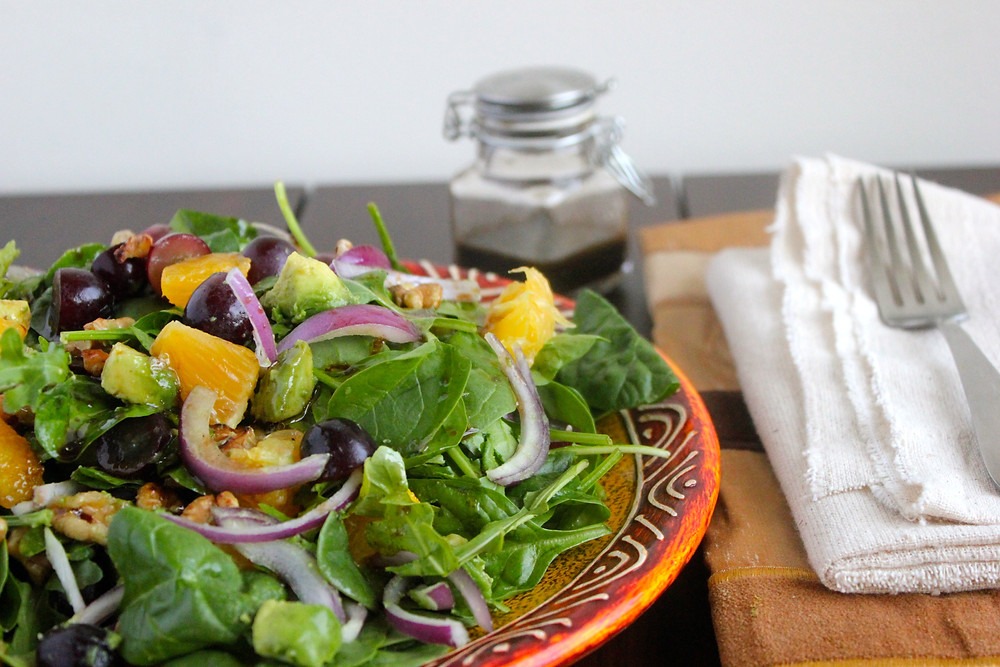 A sweet and savoury salad with a simple and satisfying dressing.