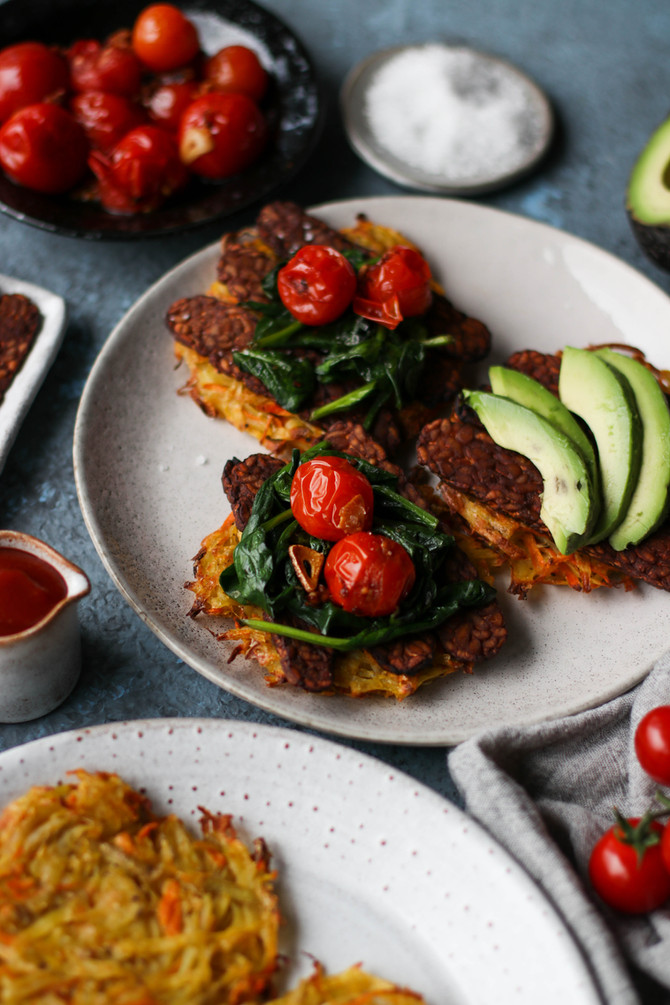 Potato Hash Cakes with Baked Marinated Tempeh