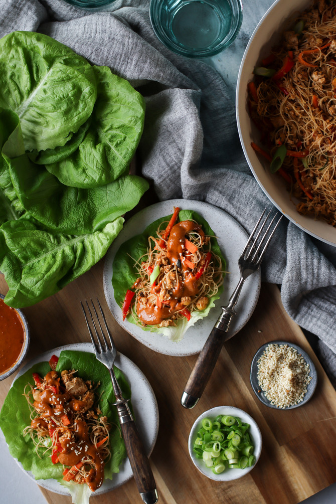 High Protein Lettuce Wraps with Creamy Peanut Sauce